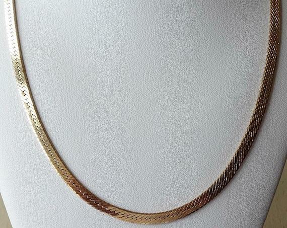 Wonderful  Vintage Golden Slender Snake Chain Necklace