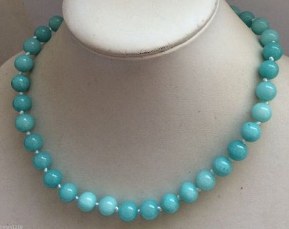 Attractive 10mm  natural Amazonite necklace 18 inches silver plated clasp