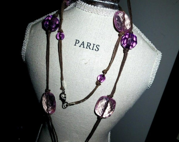 Lovely vintage retro 1960s cord necklace with pink, purple acrylic stones