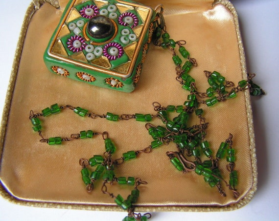 Vintage vintage Middle Eastern style gold gilt pendant with amethyst cabochon necklace