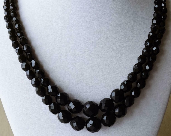 Beautiful Vintage 2-Strand Graduated Black Glass Bead Necklace