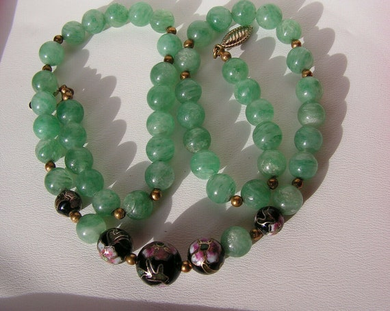 Beautiful vintage jade green glass hand painted gilded bead necklace