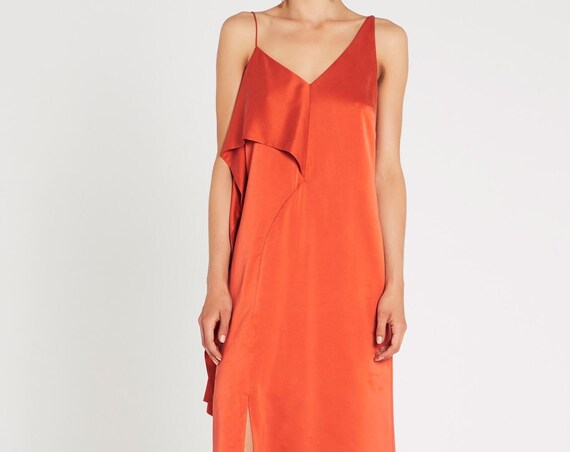Sass & Bide Reaching Zenith dress 100% silk Russet orange size 36 - 6 BNWT