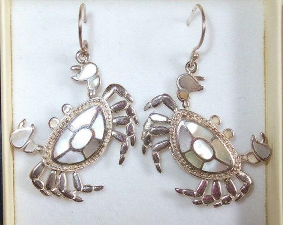 Striking Pair of Sterling Silver & Mother of Pearl Crab Design Drop Earrings