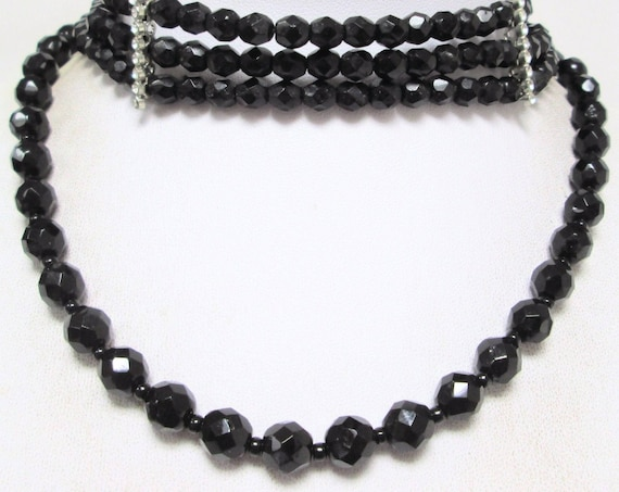2 Good quality vintage Art Deco 3 row French jet bead  choker and necklace