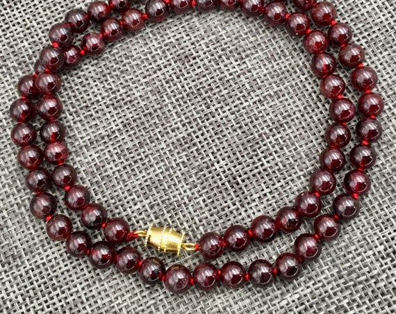 Lovely 6.5 mm polished round natural raw Garnet necklace 18""