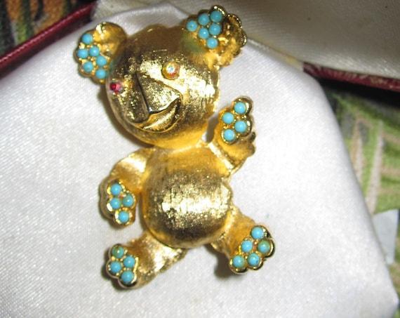 Lovely Vintage Turquoise & Aurora Golden teddy bear Brooch