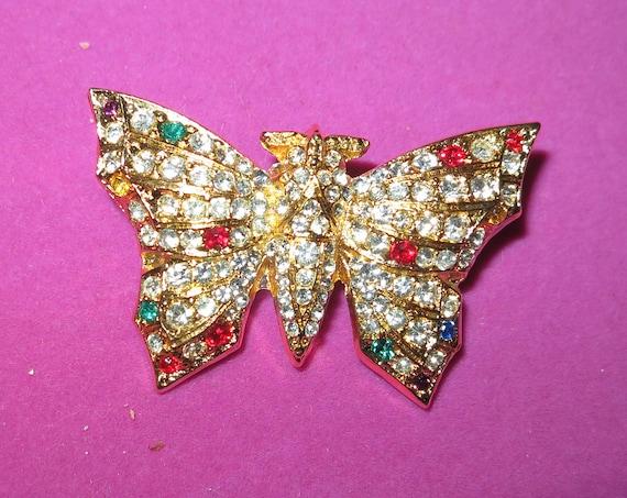 Vintage Golden Multi-Coloured Rhinestone Butterfly Brooch