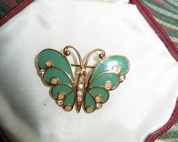 Pretty vintage Signed R Robert Goldtone Crystal & Green Enamel Butterfly brooch