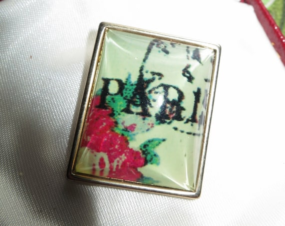 Charming Vintage Square Paris fabric  Clear resin Domed brooch