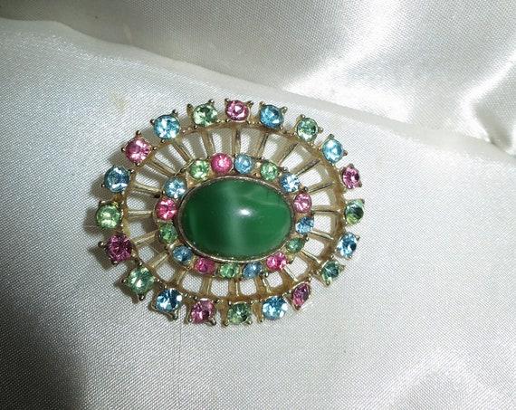 Beautiful vintage goldtone pastel rhinestone green moonglow glass brooch