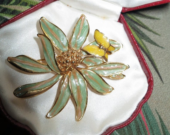 Stunning vintage gold metal signed enamel flower and butterfly brooch