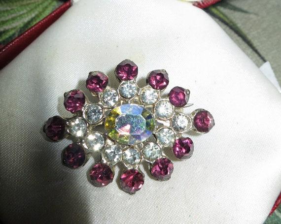 Lovely  vintage silvertone aurora borealis and amethyst rhinestone brooch