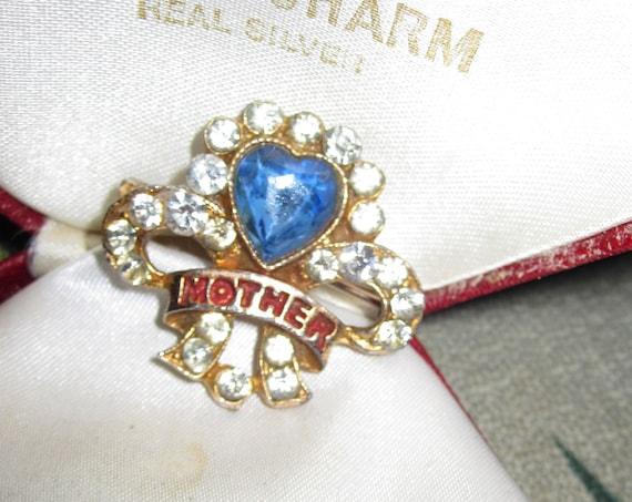 Beautiful Vintage blue rhinestone Mother Brooch