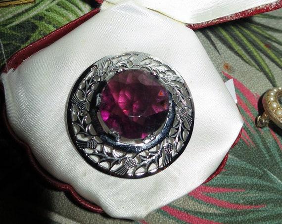 Pretty vintage Scottish MIZPAH  Silvertone Large Purple Glass Celtic Thistle brooch