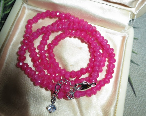 Attractive 4 mm natural rose ruby necklace 18 - 20 inches