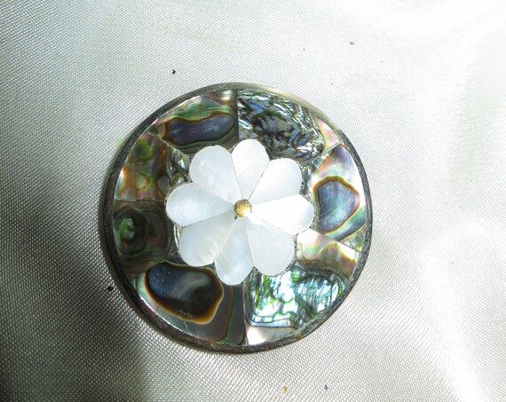Beautiful vintage sterling silver Mexican paua abalone brooch or pendant