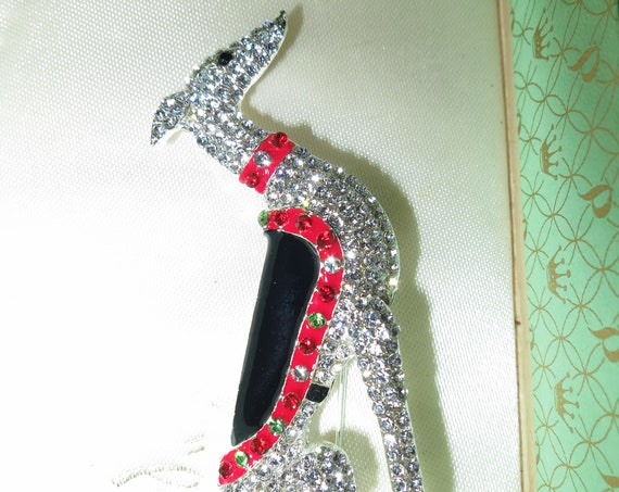 Beautiful vintage sparkly Art Deco design Greyhound Borzoi dog rhinestone brooch
