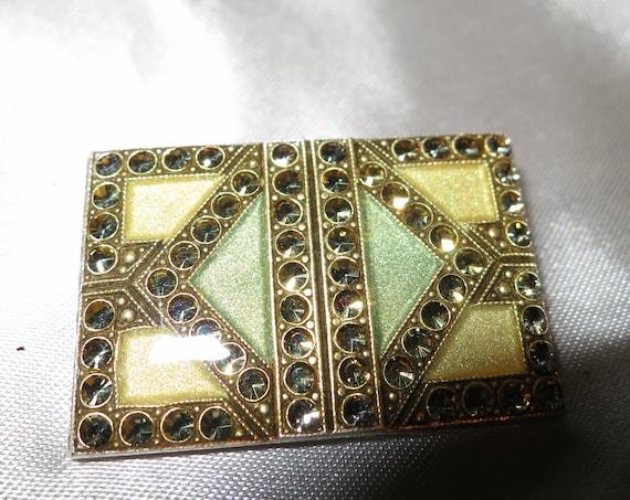 Lovely vintage Art Deco Pierre Bex style green enamel rhinestone brooch