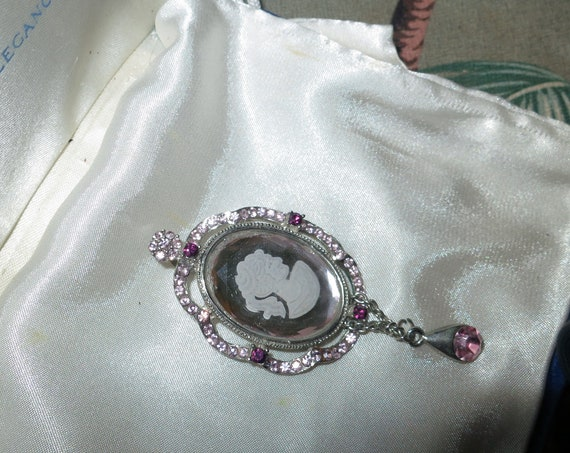 Delightful vintage silvertone mirror glass cameo pendant with pink rhinestones 3 inches