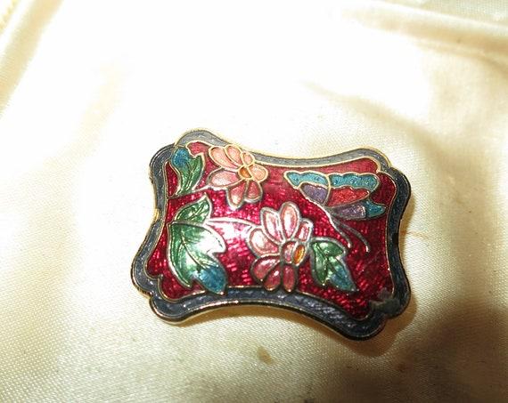 Beautiful vintage goldtone cloisonne enamel butterfly flower brooch