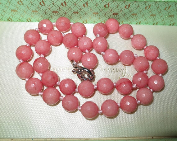 """Lovely 10mm knotted faceted pink rhodochrosite stone necklace  18"""""""