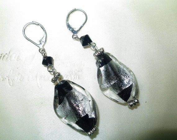 Lovely vintage retro black and silver foiled  glass dropper  earrings
