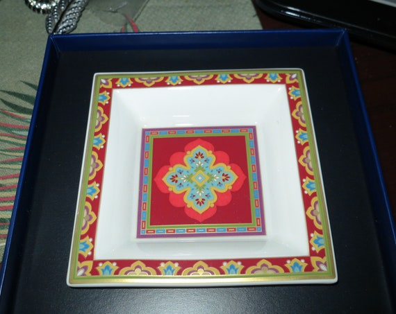 Villeroy & Boch Samarkand Rubin Indian porcelain square dish in box