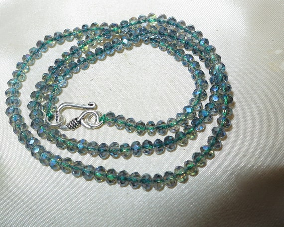 """Lovely sparkly faceted 4 mm blue aurora borealis crystal necklace   18"""""""