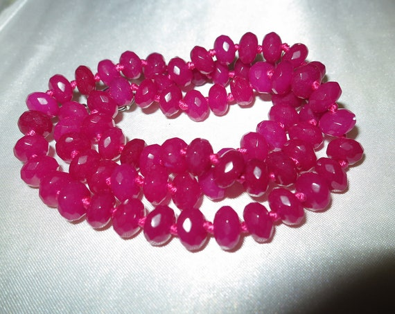 """Lovely Natural Faceted 8mm knotted Brazilian Rose  Ruby  Gemstone Necklace 18"""""""