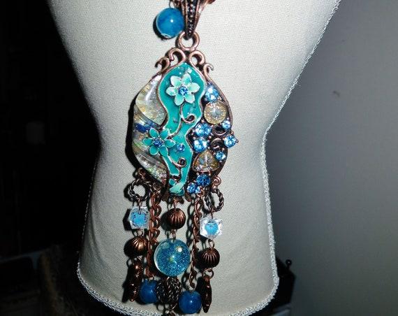 Vintage copper metal necklace with enamel rhinestone tassel pendant