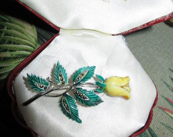 Charming  Vintage silver metal enamel marcasite yellow rose brooch