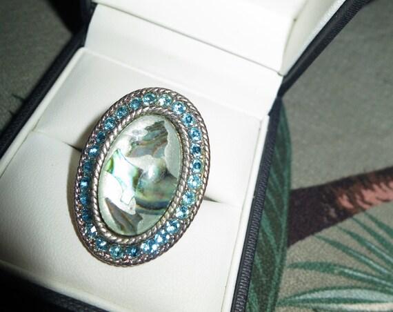 Wonderful Vintage silver plated paua shell rhinestone dress ring adjustable