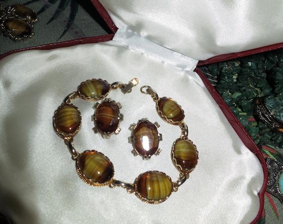 Vintage 1960s goldtone Scottish banded topaz glass bracelet and earrings set