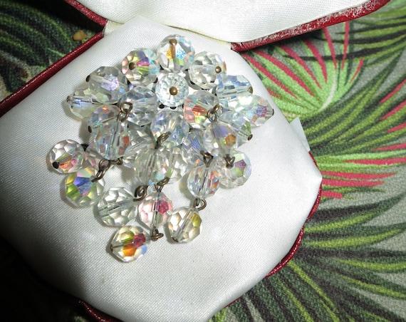 vintage AB multi colour glass bead cluster tassel brooch 1950s