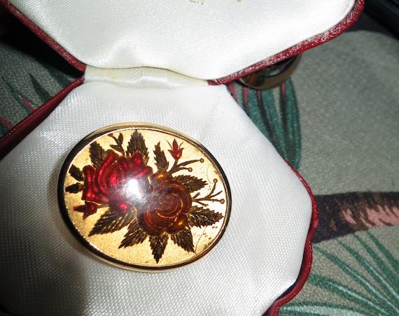 Vintage 50s Gold Tone - Reversed Carved Roses Brooch / Pendant