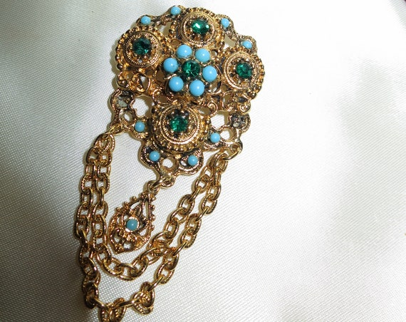 Beautiful  turquoise glass green rhinestone gold tone flower brooch