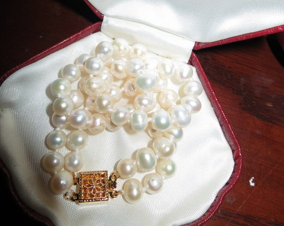 "Classic Natural 2 strand natural Akoya white pearl bracelet 7.5"""