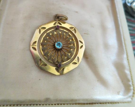 Gorgeous Antique Fancy Design Rolled Gold, Aqua & Ruby Pendant