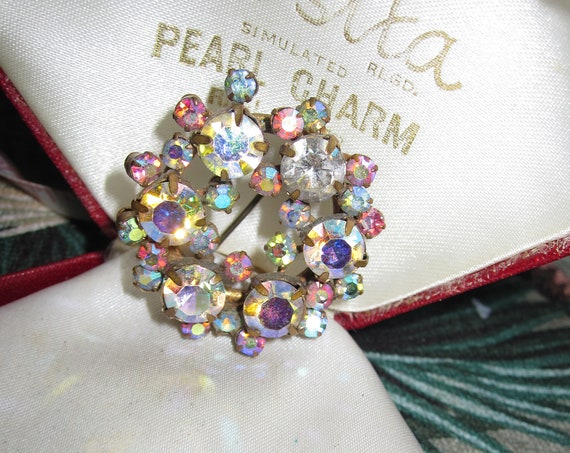 Beautiful vintage 1950s AB rhinestone multi colour flower brooch