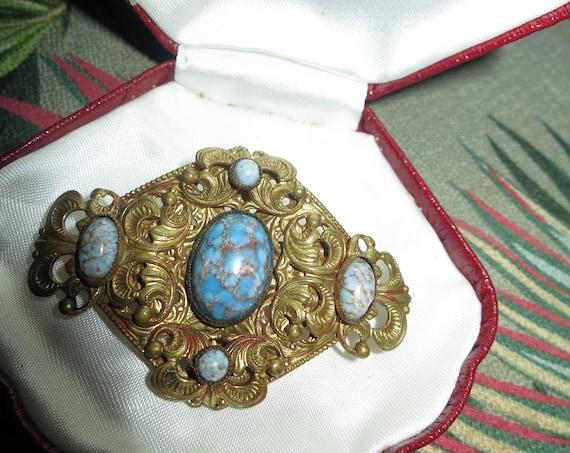 Vintage Deco Czech turquoise cabochon ornate goldtone brooch