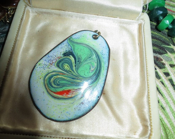 Beautiful  vintage copper handcrafted glazed enamel pendant 5cms