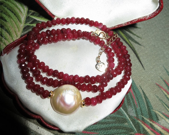 Lovely Natural Faceted 4mm ruby and 16mm freshwater pearl necklace