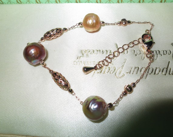 Lovely new handmade genuine cultured Kasumi freshwater coppery rainbow pearl bracelet