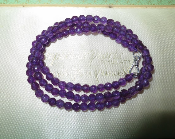 Attractive 4 mm natural purple alexandrite   necklace 18 ""