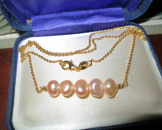 Lovely 18 ct gold filled baroque cultured   pearl  necklace