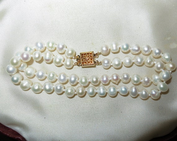 Lovely Natural 2 row natural Akoya  pearl bracelet 7.5""