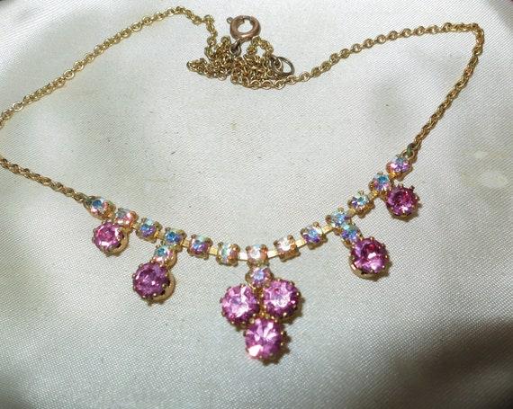Beautiful vintage goldtone Aurora borealis and pink rhinestone necklace
