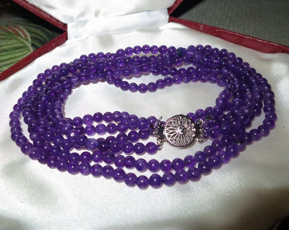 Lovely 4mm round knotted 3 strand Russian amethyst beaded necklace