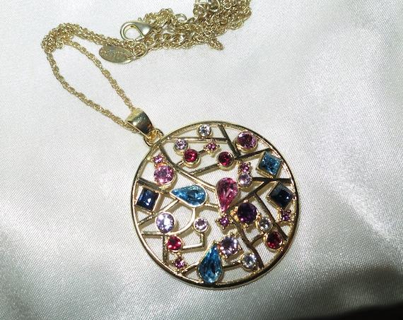 Wonderful Vintage LDADPR Multi-Coloured Glass  Pendant Necklace